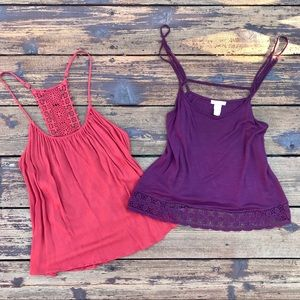 2 Tanks With Crochet Detail